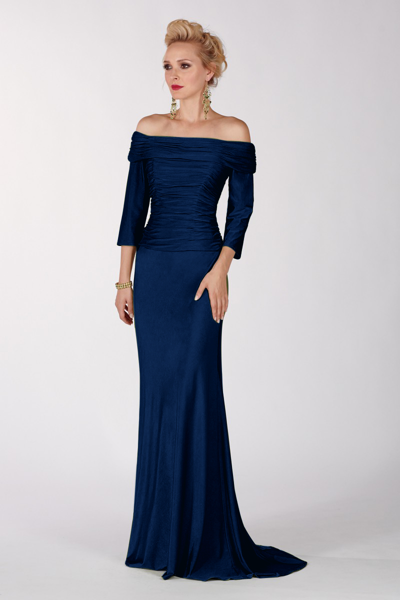 Old Fashioned Dark Blue Evening Gown Festooning - Wedding and ...