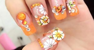 Spring-Flower-Nail-Art-With-Rhinestones